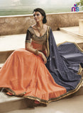 NS11501 Dark Grey and Orange Designer Saree