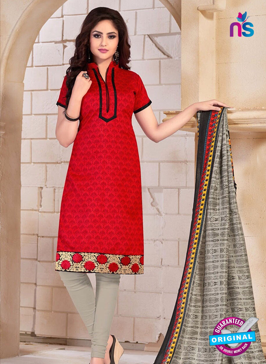 NS10683 Red and Grey Silk Designer Suit