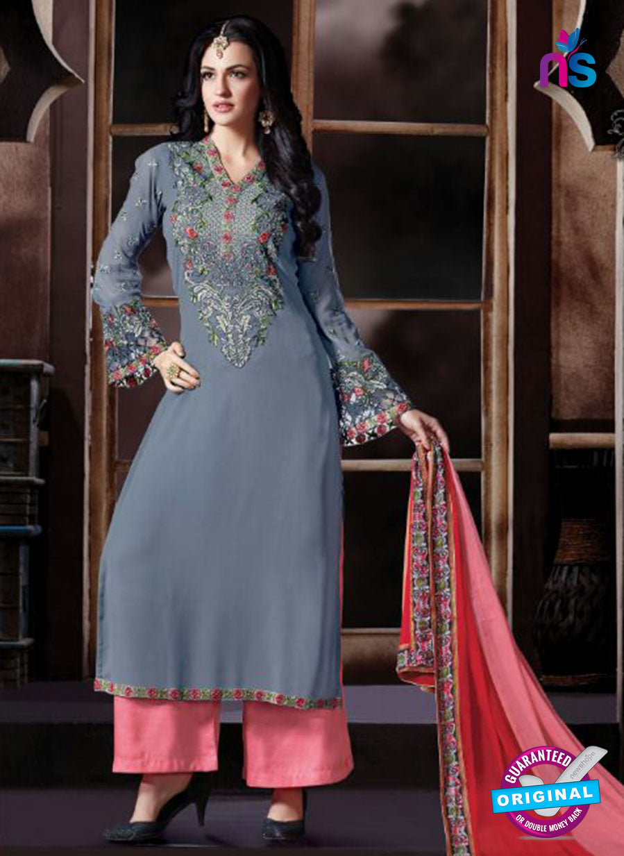 Shivam Ruhab 4500 Grey and Peach Georgette Party Wear Suit