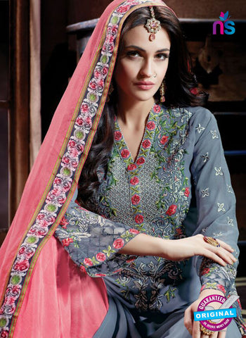 Shivam Ruhab 4500 Grey and Peach Georgette Party Wear Suit Online