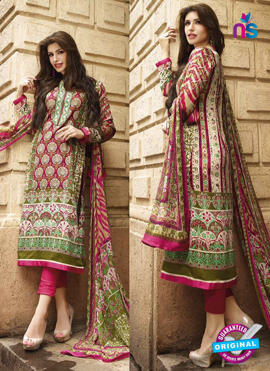 NS10621 Pink and Green Printed Cotton Satin Straight Suit