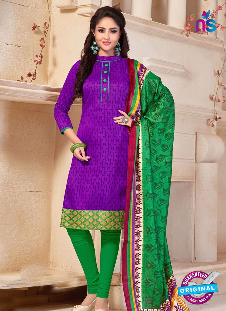 NS10685 Purple and Green Silk Designer Suit