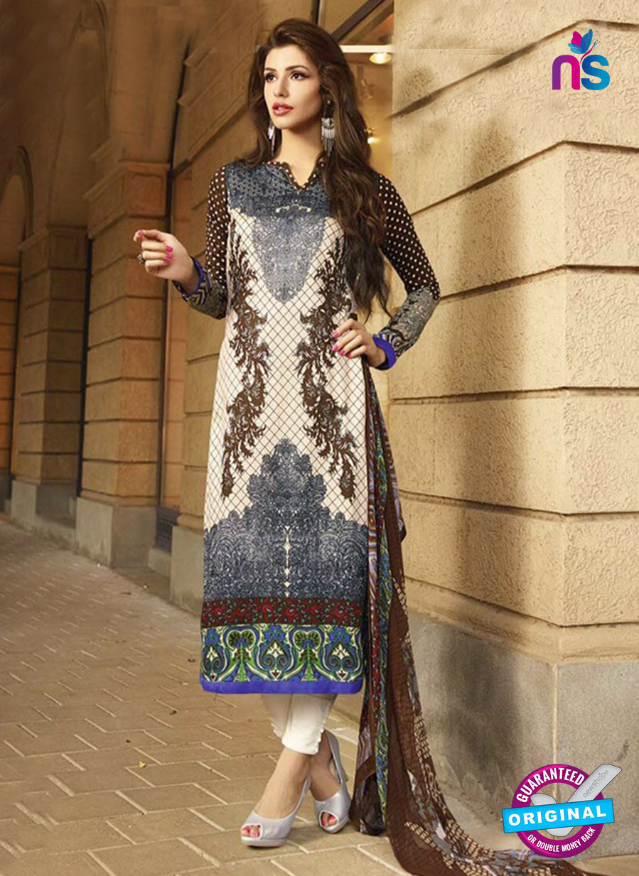 NS10622 Black and Beige Printed Cotton Satin Straight Suit