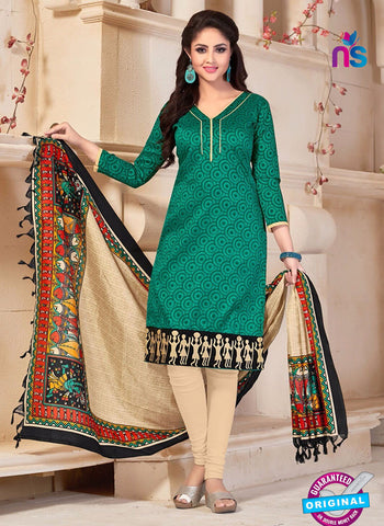 NS10686 Sea Green and Beige Silk Designer Suit