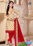 NS10687 Beige and Red Silk Designer Suit