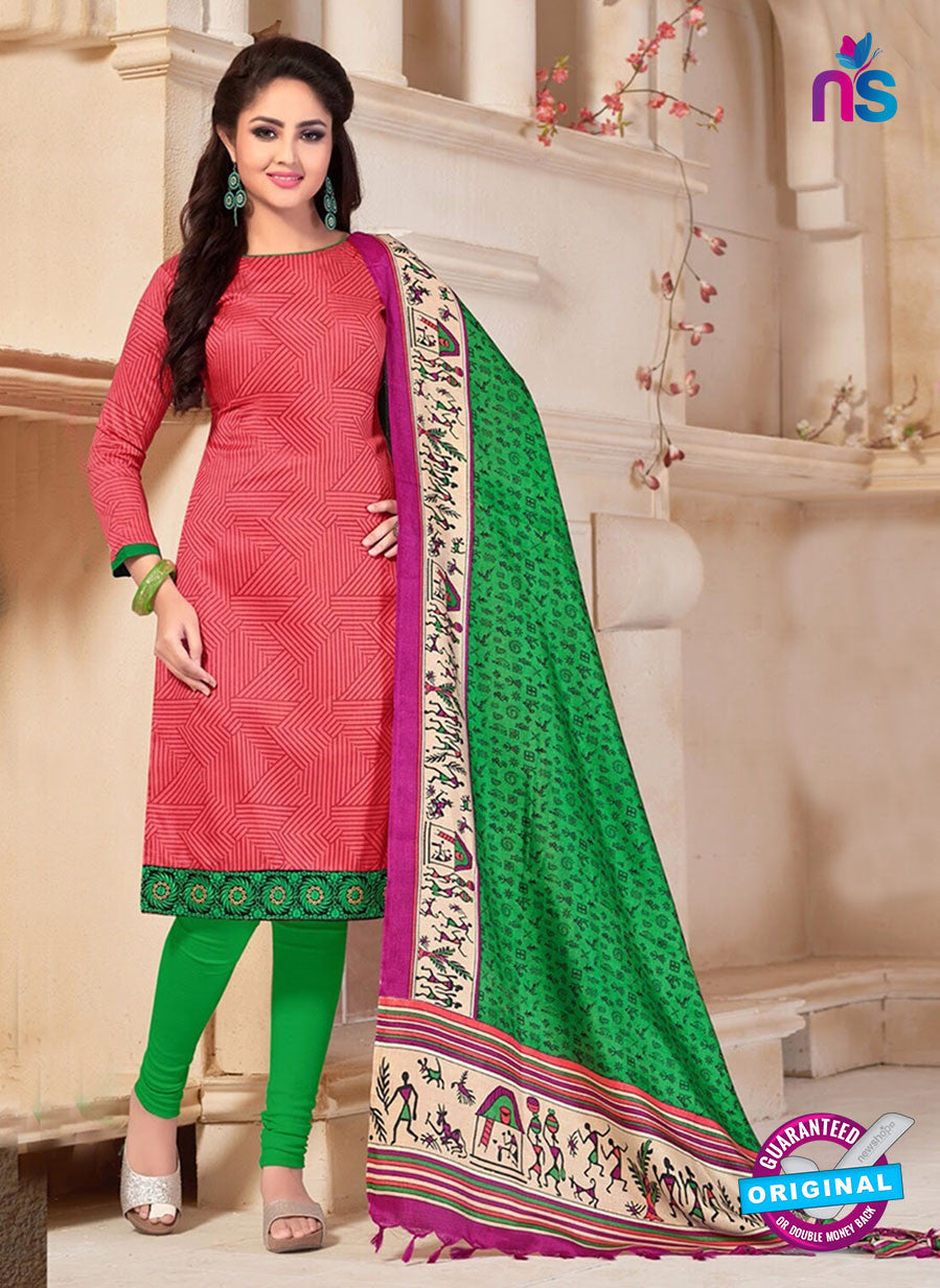 NS10690 Pink and Green Silk Designer Suit