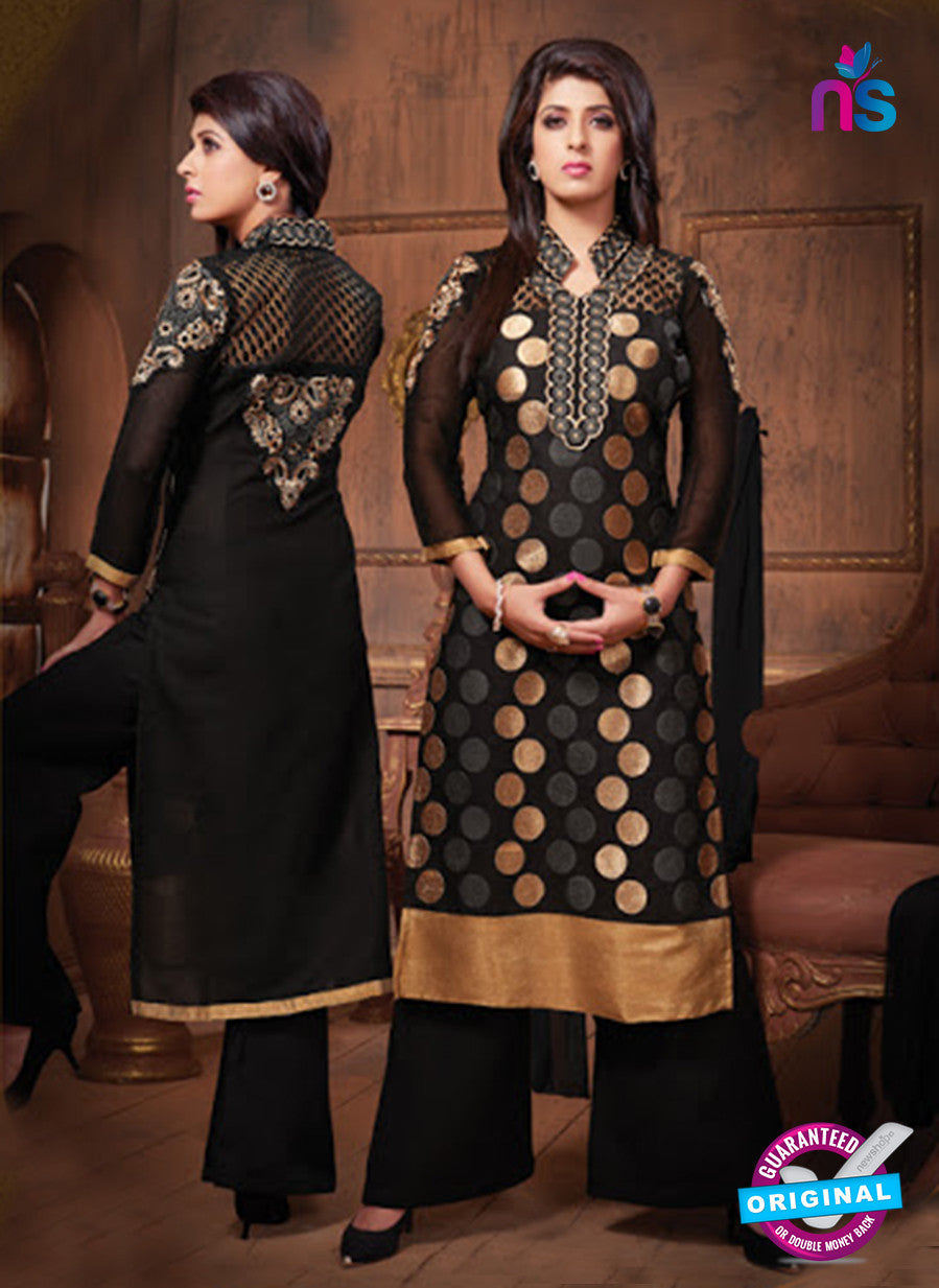 NS10672 Black and Golden Cotton Designer Straight Suit