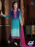AZ 2063 Dark Blue and Sky Blue Georgette Party Wear Suit