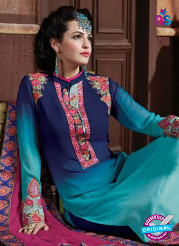 AZ 2063 Dark Blue and Sky Blue Georgette Party Wear Suit - Salwar Suits - NEW SHOP