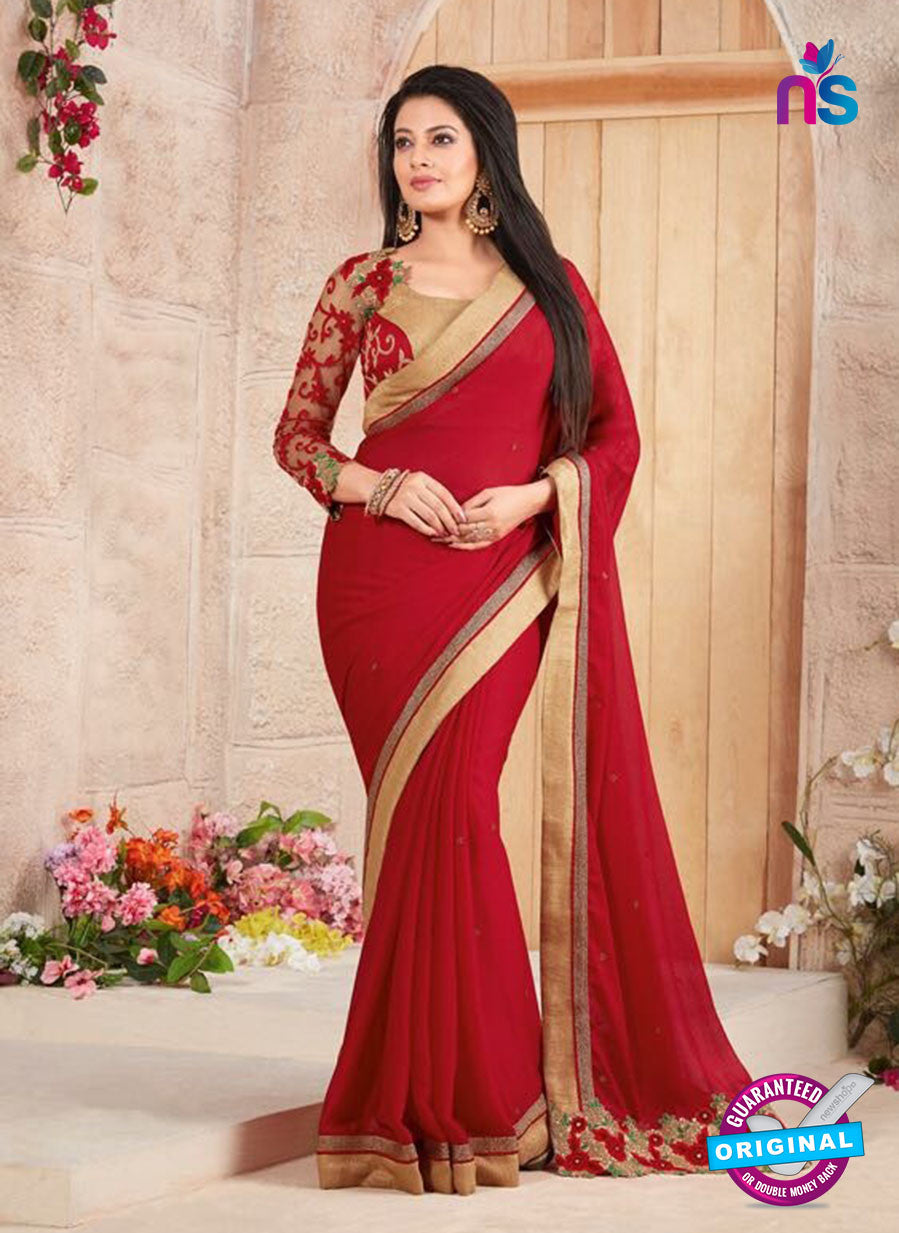 AZ 3415 Red Georgette Fancy Designer Saree