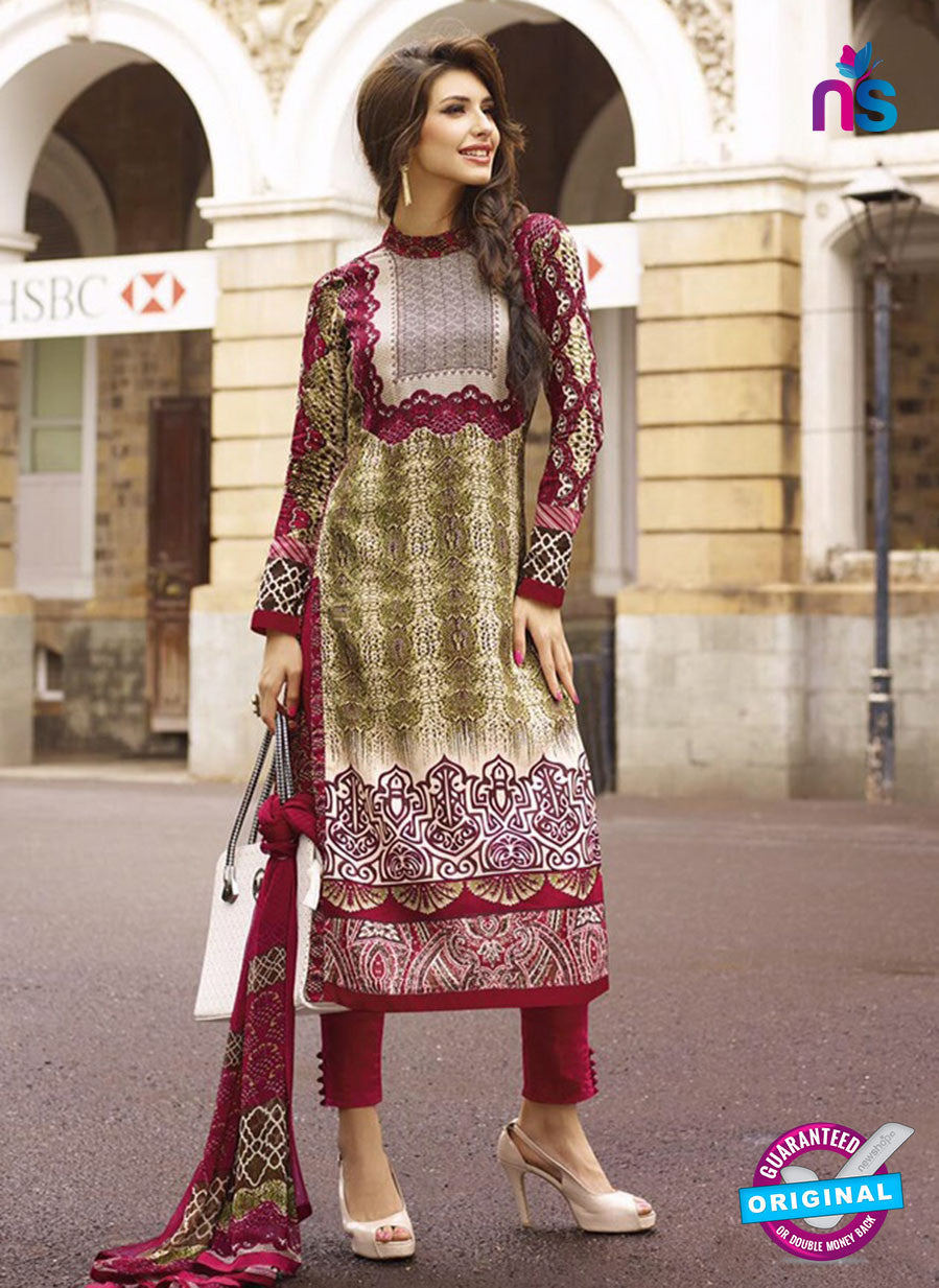 NS10616 Maroon and Yellow Printed Cotton Satin Straight Suit