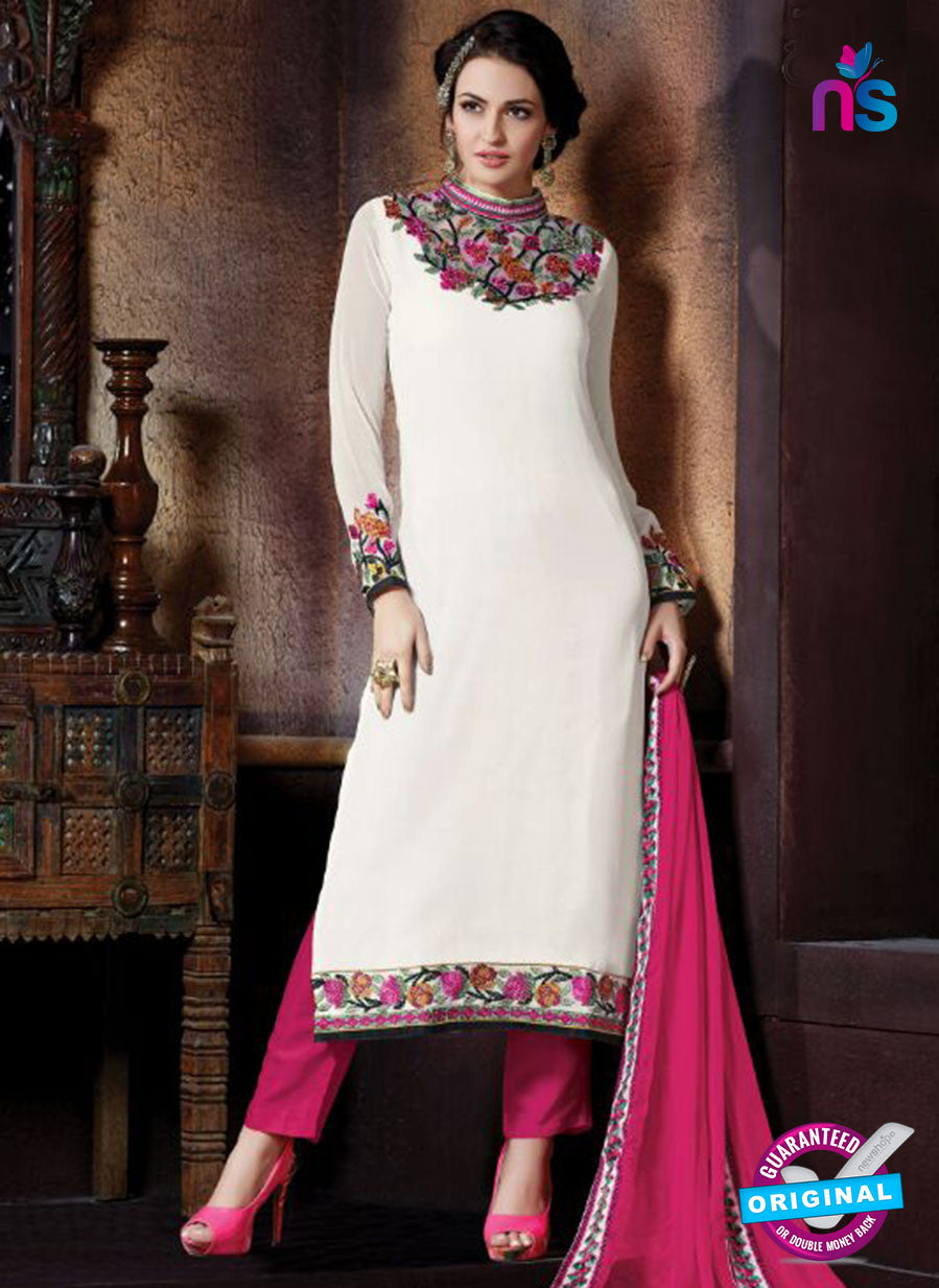 Shivam Ruhab 4503 White and Pink Georgette Party Wear Suit