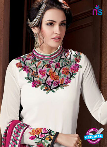 Shivam Ruhab 4503 White and Pink Georgette Party Wear Suit Online