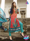 NS10618 Pink and Blue Printed Cotton Satin Straight Suit