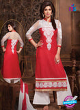 NS10674 White and Red Cotton Designer Straight Suit