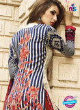NS10619 Blue and Red Printed Cotton Satin Straight Suit