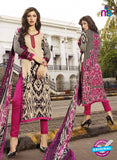 NS10620 Brown and Pink Printed Cotton Satin Straight Suit