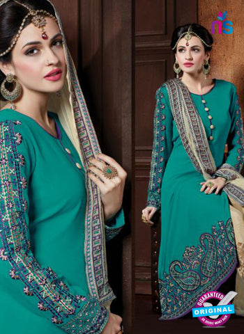 AZ 2069 Sea Green and Beige Georgette Party Wear Suit Online