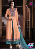 Buy Shivam Ruhab 4510 Peach and Sea Green Georgette Party Wear Suit Online