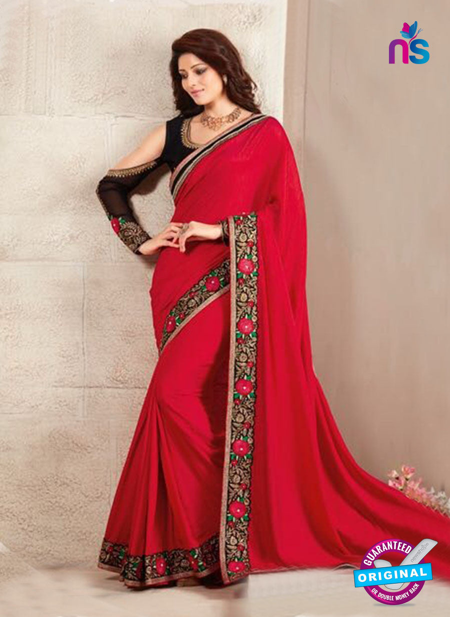 AZ 3432 Red Georgette Fancy Designer Saree