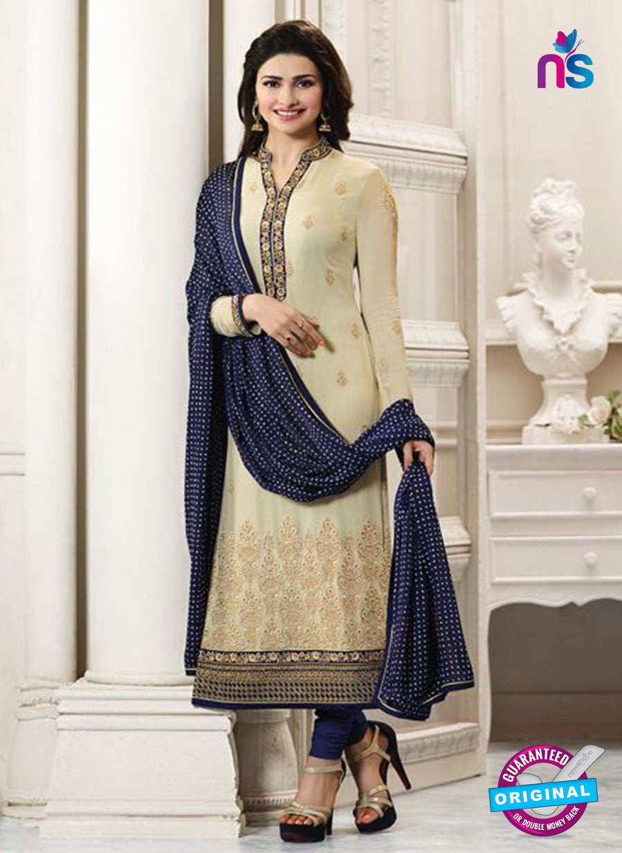Vinay Fashion 4562 Beige and Blue Georgette Party Wear Suit
