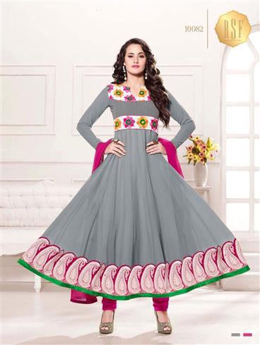 NS11909  Grey and Magenta Georgette Anarkali Suit