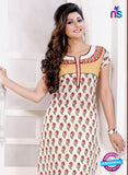 NS 12431 White and Red Embroidered Printed Cotton Party Wear Stitched Kurti