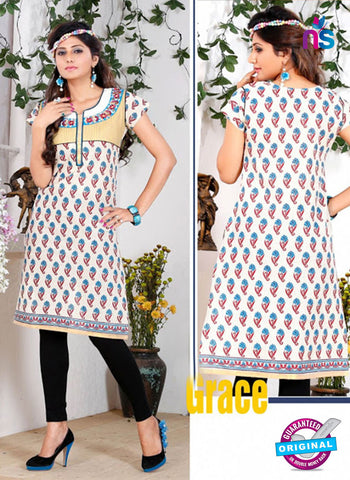 NS 12432 White and Blue Embroidered Printed Cotton Party Wear Stitched Kurti