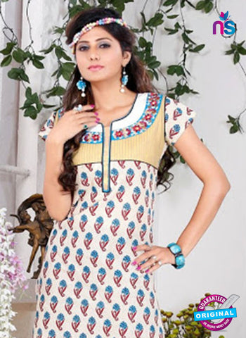 NS 12432 White and Blue Embroidered Printed Cotton Party Wear Stitched Kurti Online