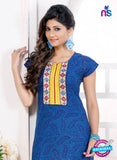 NS 12435 Blue and Yellow Embroidered Printed Cotton Party Wear Stitched Kurti