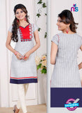 NS 12430 White Embroidered Printed Cotton Party Wear Stitched Kurti