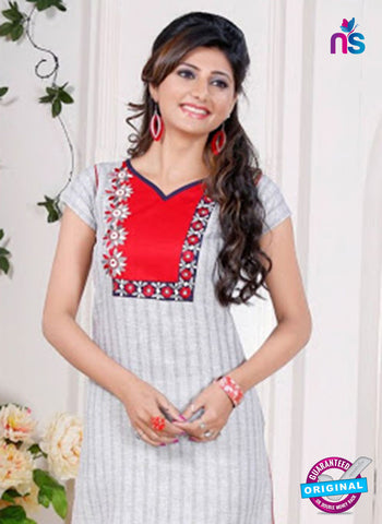 NS 12430 White Embroidered Printed Cotton Party Wear Stitched Kurti Online