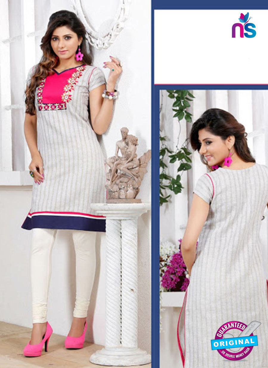 NS 12434 Beige Embroidered Printed Cotton Party Wear Stitched Kurti