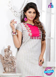 NS 12434 Beige Embroidered Printed Cotton Party Wear Stitched Kurti Online