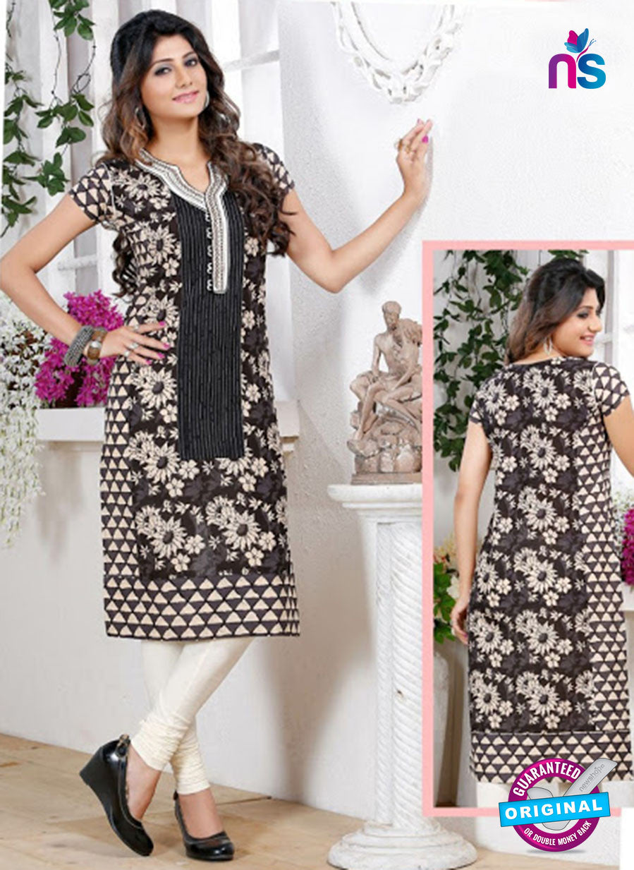 NS 12443 Black and Cream Embroidered Printed Cotton Party Wear Stitched Kurti
