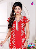 NS 12436 Red and White Embroidered Printed Cotton Party Wear Stitched Kurti