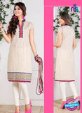 NS 12441 Beige and Pink Embroidered Printed Cotton Party Wear Stitched Kurti