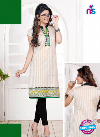 NS 12437 Green and White Embroidered Printed Cotton Party Wear Stitched Kurti