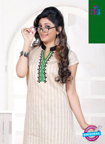 NS 12437 Green and White Embroidered Printed Cotton Party Wear Stitched Kurti Online