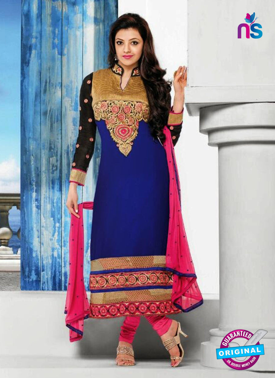 NS10817 Black and Blue Georgette Straight Suit