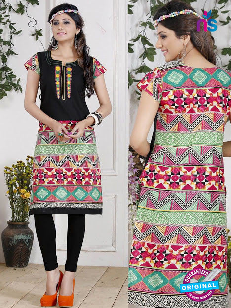 NS 12438 Black and Multicolor Embroidered Printed Cotton Party Wear Stitched Kurti