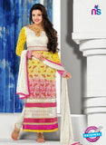 NS10818 Ivory and Yellow Georgette Straight Suit