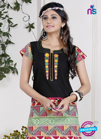 NS 12438 Black and Multicolor Embroidered Printed Cotton Party Wear Stitched Kurti Online