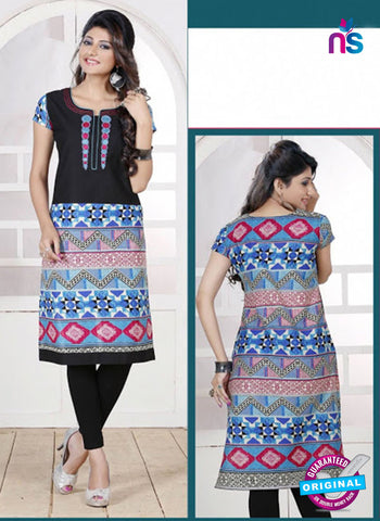 NS 12439 Black and Blue Embroidered Printed Cotton Party Wear Stitched Kurti