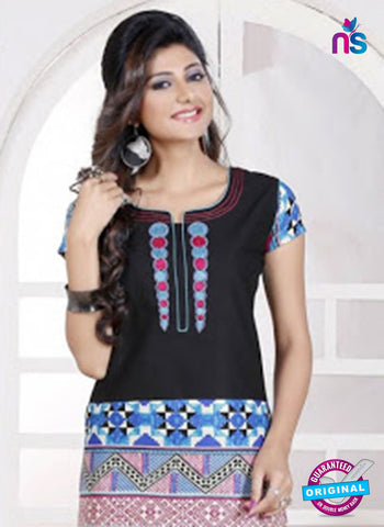 NS 12439 Black and Blue Embroidered Printed Cotton Party Wear Stitched Kurti Online
