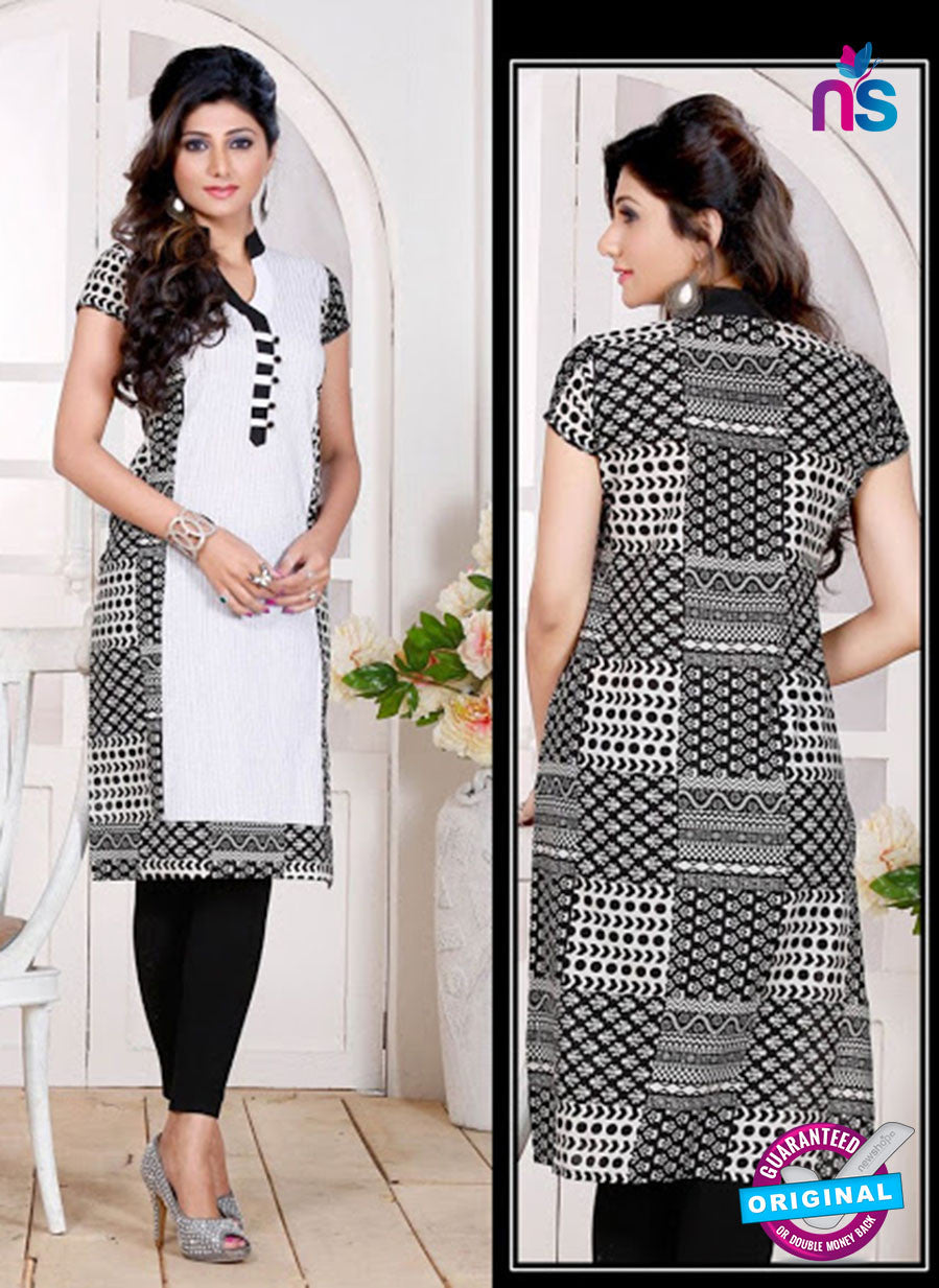 NS 12442 Black and White Embroidered Printed Cotton Party Wear Stitched Kurti