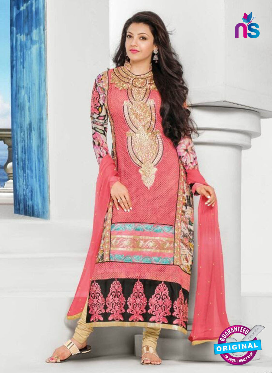 NS10820 Pink and Black Georgette Straight Suit
