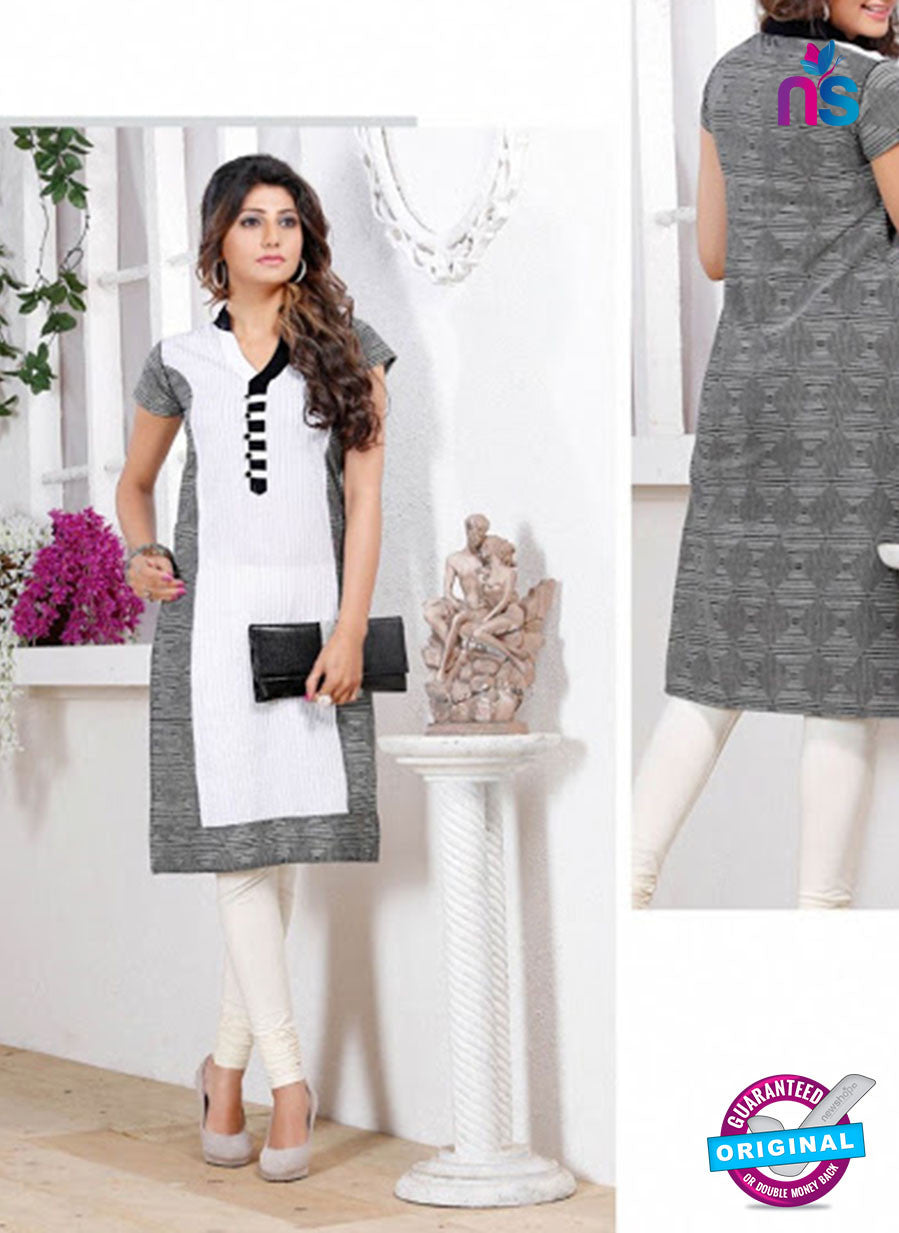 NS 12440 White and Black Embroidered Printed Cotton Party Wear Stitched Kurti