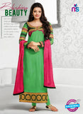 NS10821 Light Green and Deep Pink Georgette Straight Suit