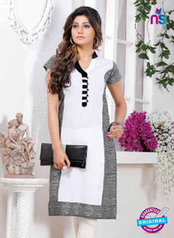 NS 12440 White and Black Embroidered Printed Cotton Party Wear Stitched Kurti Online
